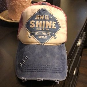 Other - Cute distressed ball cap in red, white & blue